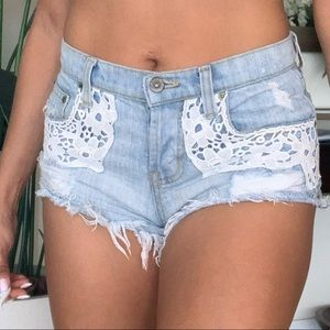 Lace detail mini shorts